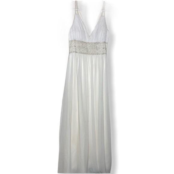 Oleg Cassini Silk Beaded Maxi Formal Dress